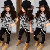 Toddler Kids Baby Girl Outfit Clothes T-shirt Tops+ Leggings Pants 2PCS Set 1-6T