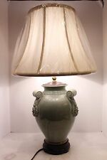 "Unique Oriental Celadon Crackle Porcelain Table Lamp Shade Finial Thailand 28""H"