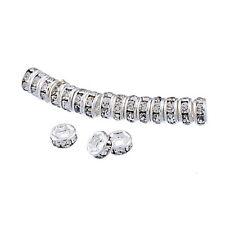 25 Versilbert Metallperlen Klar Acryl Strass Rondelle Spacer Beads 4x2mm