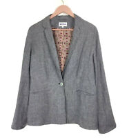 Brora Grey 100% Linen Lined Summer Relaxed Unstructured Casual Womens Blazer 12