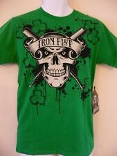 IRON FIST LUCKY TO BE ALIVE GREEN S/S T.SHIRT XS S BNWT