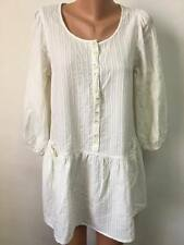 GUDRUN SJODEN size M / L 100% Organic Cotton Ivory Tunic Top