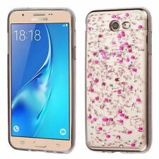 Glitter Rubber Clear Case For Samsung Galaxy J7 (2017)/J7 Prime/J7 V Hot Pink