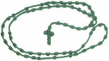 Rope cord green knotted rosary beads necklace Catholic gift