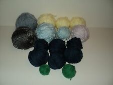 Lot of 14 Yarn Balls Unknown Brands Teal, Yellow, Lilac, Gray, Olive, Blue-Gray