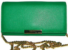 TED BAKER Bright Green Leather Flap Clutch Wallet Purse Crossbody NWT
