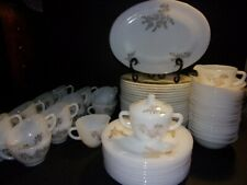90pc Federal Milk Glass Dinnerware Pattern Golden Glory hard to find extras