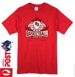 Men Quick Dry 100% Polyester Basketball Training Fitness Print T Shirt 2XL RED