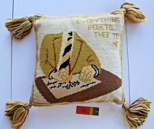 """NWT Authentic TORY BURCH Buddy Needlepoint Pillow in Natural Multi 14""""x14"""""""