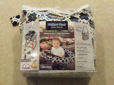 Floppy Seat Plush Shopping Cart and High Chair Cover with Messenger Bag- Black