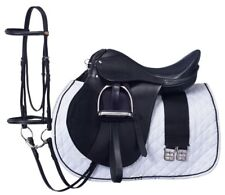 "17 Inch All Purpose English Saddle Package - Black - All Leather -7"" Gullet"