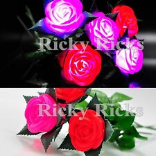 12 PCS Light Up Roses Valentines Day Romantic Wedding Pink Red Flashing LED Gift