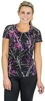 Muddy Girl MoonShine Pink Purple Camo Womens Vented Short Sleeve Shirt sz XL