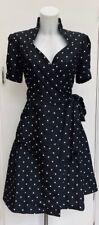 Black White Polka Dot Cotton 'Fit N Flare' Retro 50's Tie Waist Wrap Dress M 12