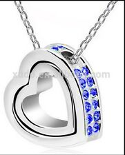 Double Heart Pendant Necklace  Silver/Blue Anniversary Valentines B'day Gift