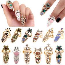 Women Pretty Bowknot Nail Ring Charm Crown Flower Crystal Finger Nail Rings YF