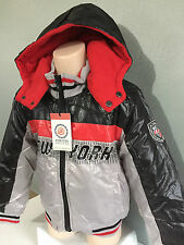 BNWT Boys Sz 6-7 Years Thick Warm Polar Fleece Lined Padded Grey Coat With Hood