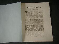1800 STORIA DI CARLO FRANCHI ERUDITO DI L'AQUILA ABRUZZO REGNO DI NAPOLI