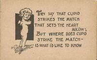 Postcard Comic Cupid Funny Vintage Pre-linen Lithograph1901-1907 Unused Co3