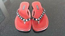 DESIGNER ABRAHAM & THAKORE INDIAN Red LEATHER FLIP-FLOPS Sandals Sz 38, US 7 EUC
