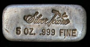 Silver Towne 5 ozt .999 Fine Silver Old Poured Bar with Serial Number (C0646)
