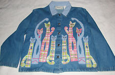 "Tantrums Pink & BLue Plaid Cat Applique Blue Jeans Jacket M 40"" Bust NWT / NOS"
