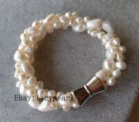3 Stränge 6-9 mm Weiß Barock Süßwasser Perle Armband