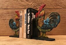 "Cast Iron Rooster Cookbook Bookends Set 8"" tall Kitchen Decor 0170S-04408"