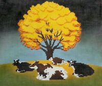 Needlepoint Handpainted Cooper Oaks COW Fall Afternoon 10x12