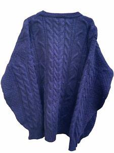 Cottage Knitwear Aran Cable Fisherman Navy Jumper Men Sweater Size M/L #113