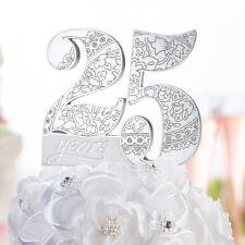 Cake topper 25 anni strass intagli torta anniversario matrimonio nozze argento