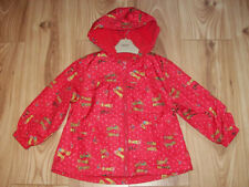 NEW GIRLS NEXT JACKET 3-4, Red Wellington wellie Boot floral Hooded lined coat