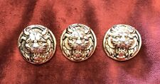 1980s Set 3 Highly Detailed Lion Buttons Metal Gold Vintage