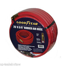 """Good Year 25' x 3/8"""" 250 PSI Rubber Air Compressor Hose 12185 Goodyear USA Made"""