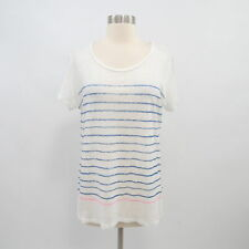 Majestic Paris Linen T-Shirt Tee Top Womens 5 XL White Blue Striped Scoop Neck