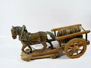 Horse With Cart of Barrels Old Material Compound Elastolin Wood 38 CM