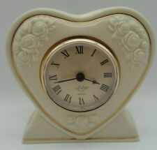 Lenox Porcelain Heart Shape Quartz Mantle Table Clock Aaa Battery Operated Works