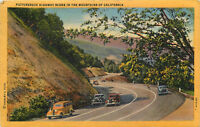 Linen Postcard CA C557 Picturesque Highway Scene in Mountains of Calif Old Cars