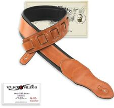 Walker & Williams G-05 Chestnut Brown Padded Guitar Strap Glove Leather Back