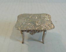 Unusual Antique Sterling Silver Occasional Table, Elaborate Embossed Design