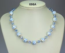 Blue & white flower porcelain bead necklace, pale blue crystals,silver balls 18""