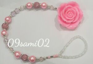 Bling Rose Shamballa & Crystal Romany Dummy Clip Personalised pink!!❤❤