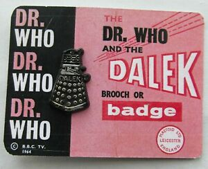 Doctor Who Original Plastoid Mini Dalek Pin Badge Vintage 1965 RARE