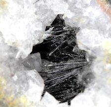 Goethite Hair-Like SHINY Black Metallic Crystals Quartz Cluster Mineral Specimen