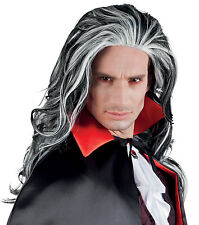 Peluca Vampiro Drácula Gótico Larga para Hombre Pirata Elegante Halloween Horror Nuevo