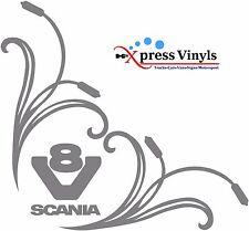 Camión Scania V8 Adhesivos X 2 gráficos de vinilo ventana lateral