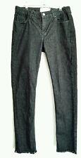 £70 MARQUES ALMEIDA TOPSHOP Jeans size 12 slim leg Black raw hem Mid Rise -NEW-
