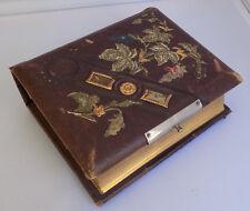 Antique Victorian Leather Photo Album Floral Leaf Design Gold Gilt 1800's
