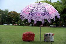 Ombre Mandala Cotton Garden Umbrella Handmade Indian Large Parasol Patio Outdoor