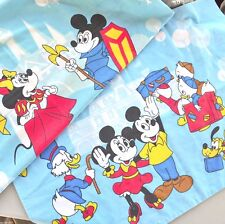 DisneyLand Mickey Mouse Minnie 2 Vtg Pillow Cases Disney Donald Duck Muslin Usa